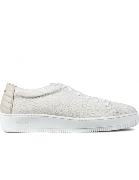 FACTO White Apollo Croco Low Top Sneakers