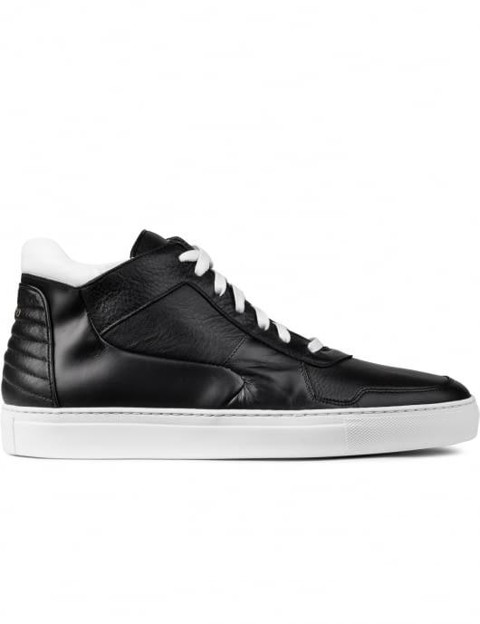 FACTO Black Vesta Pebblegrain White Calf Mid Top Sneakers