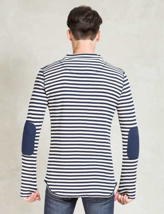 Discovered Navy L/S Border Waffle T-Shirt