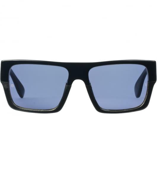 SUNDAY SOMEWHERE Black/Black Leather With Gold Mirror Lens MVP Sunglasses