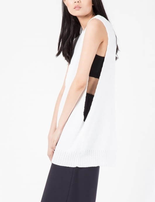 LOW CLASSIC White Loose Sleeveless Shirt