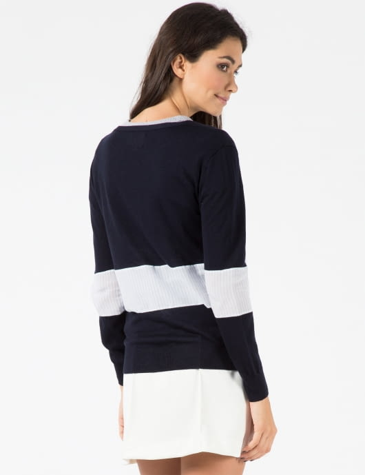 Band of Outsiders Classic Navy Shirting Panel V-neck Cardigan