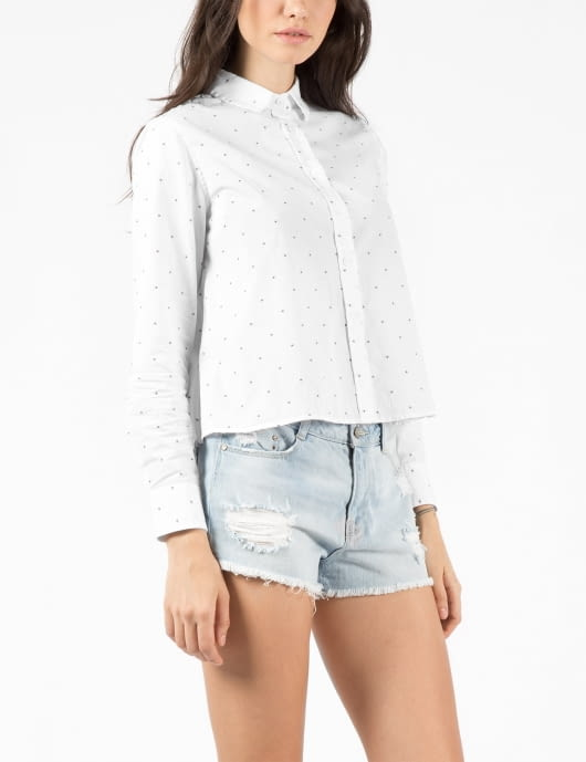 Band of Outsiders White Cannes Dot Cropped and Boxy Shirt