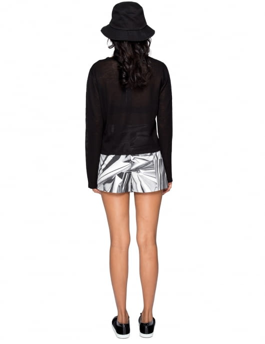 KYE White Multi Printing Wrap Pants Skirt