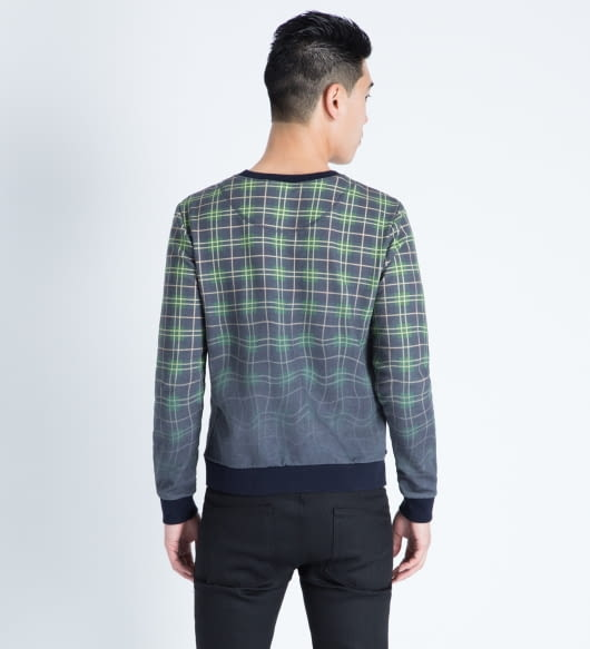 Band of Outsiders Multicolor Melting Plaid Crewneck Sweater