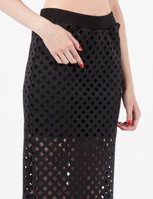 Andrea Crews Black 3D Mesh Long Tube Skirt