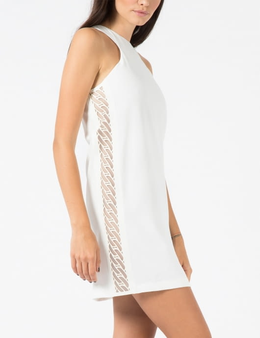 KYE White Chain Motif Hot-Melt Halter Neck Dress
