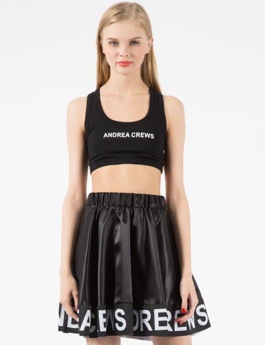 Andrea Crews Black AC Printed Sport Bra