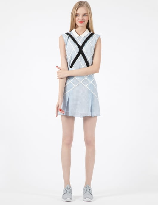 Band of Outsiders Denim Lattice Mini Skirt with Suspenders