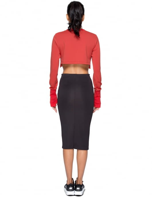 KYE Red Emboss Woven Crop Top