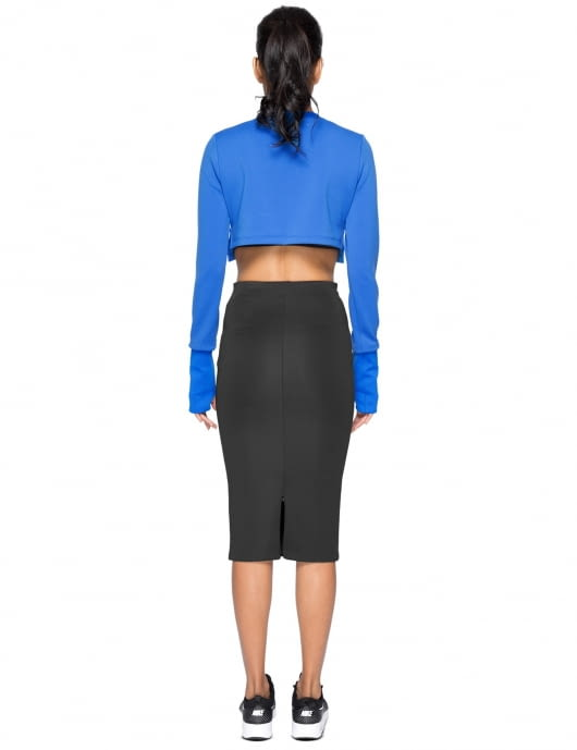 KYE Blue Emboss Woven Crop Top