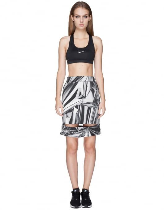KYE White/Multi Printing Emboss Slach Skirt