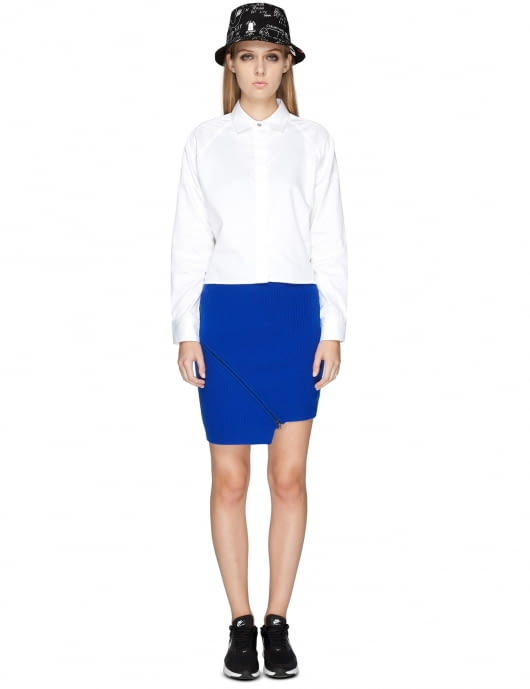 Opening Ceremony Cobalt Blue Felted Zipper Skirt