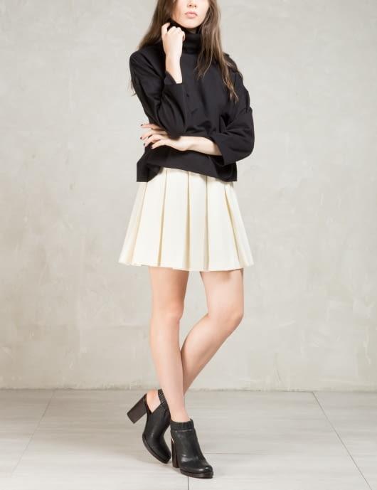 MAISON KITSUNE Beige Solid Pleated Gabardine Skirt