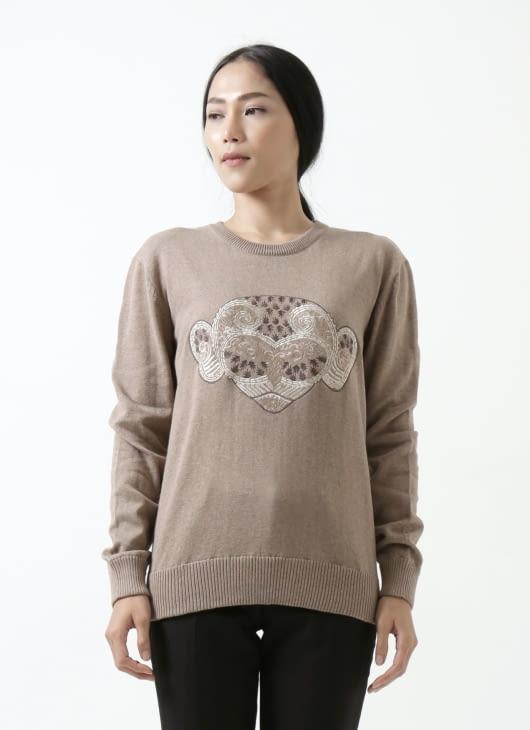 saptodjojokartiko Monkey Head Penara Sweater in Shell