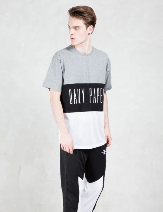 Daily Paper Black Script Logo Mesh Panel T-shirt
