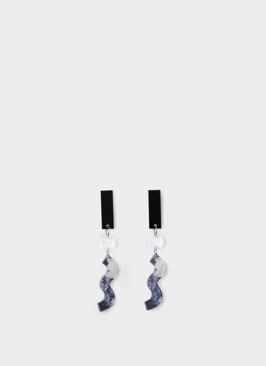 ISTAFADA 3 Shapes Transparent Marble Earrings