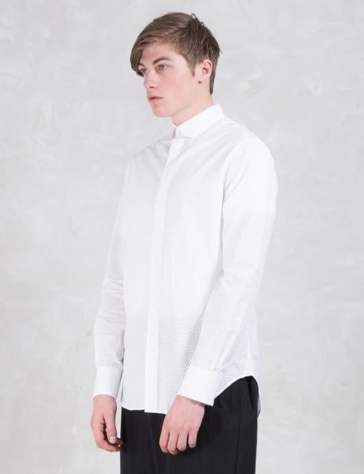Munsoo Kwon Hole Punch Round Collar Hidden Placket Shirt