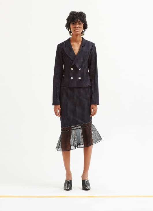 Patrick Owen Deconstructed Pinstripe Skirt