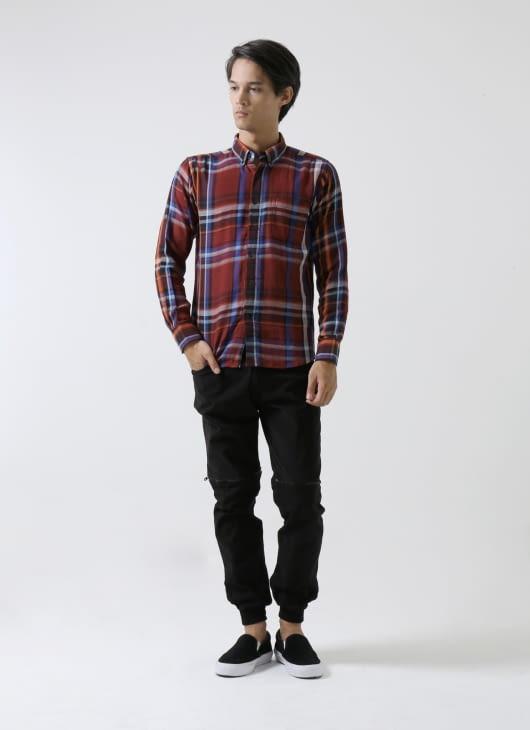QUTN Button Down Maroon Plaid Shirt