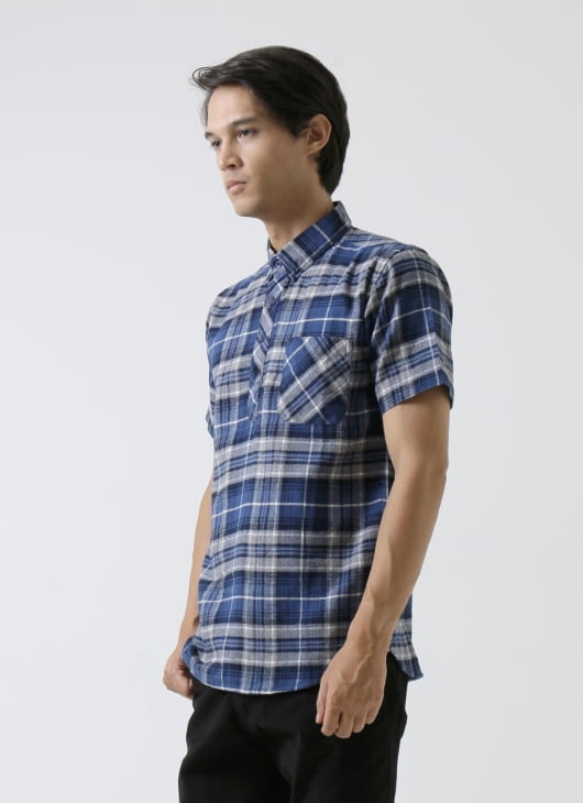 QUTN Half Button Blue Flannel Shirt