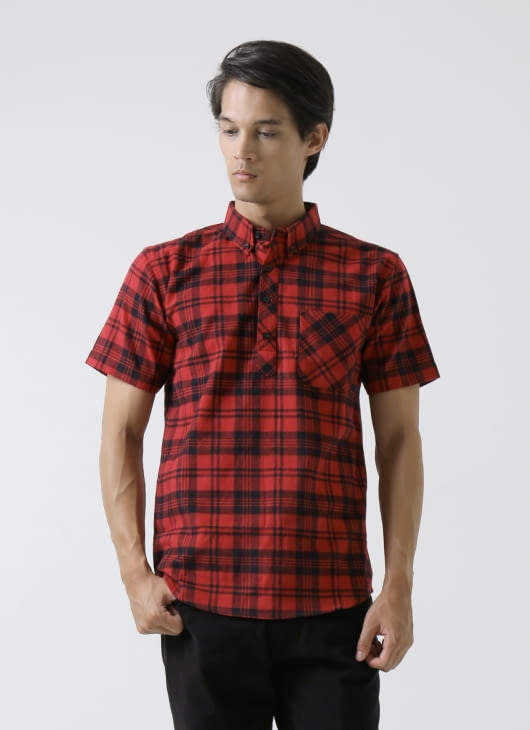 QUTN Half Button Red Flannel Shirt