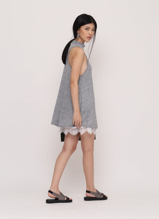 Wearstatuquo Gray Basic Turtleneck Dress