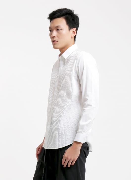 jan sober Natural White Pleats Shirt