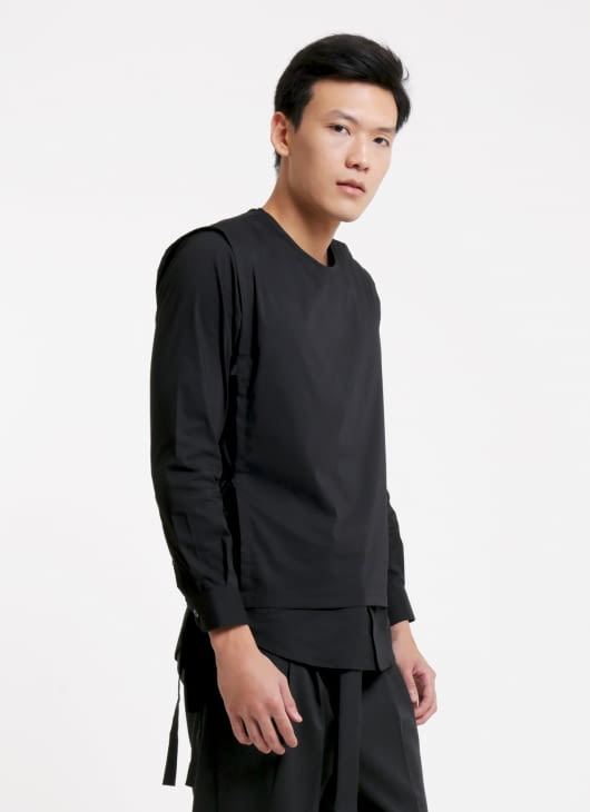 jan sober Black Layered Wrap Shirt