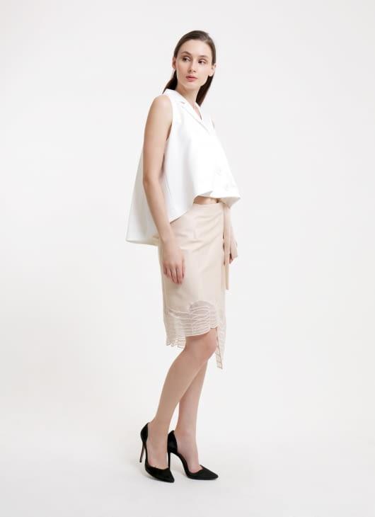 Reves Studio Nude Wrapped Skirt