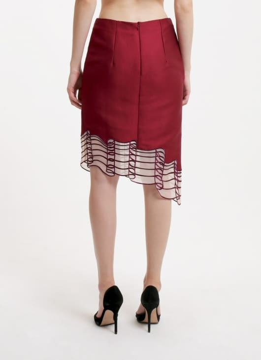 Reves Studio Burgundy Asymmetric Hem Skirt