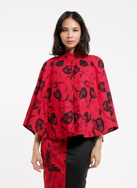 Amanda Hartanto Batik Red Cape Top