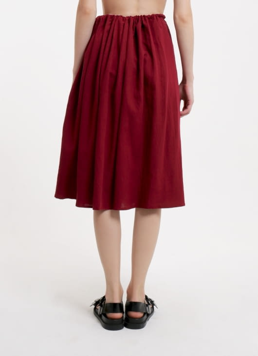 Seratus Kapas Pompeian Red Side Smock Pocket Skirt