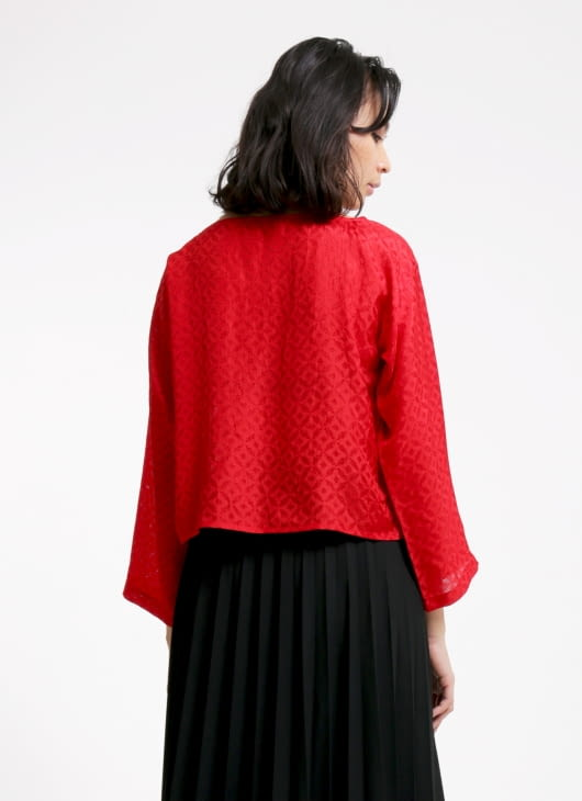 Larissa Duliar Red Alli Long Sleeved Blouse