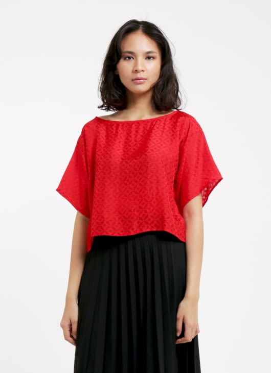 Larissa Duliar Red Alli Short Sleeved Blouse