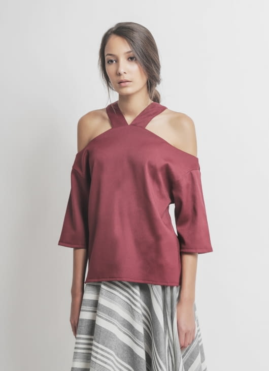 Les Riches Maroon Mono Top