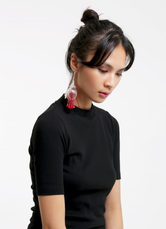 Tam Illi Red Translucent Poly Earrings