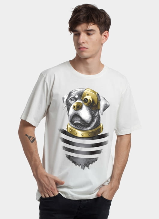 Monstore Off White Steampunk Rottweiler Basic Tee