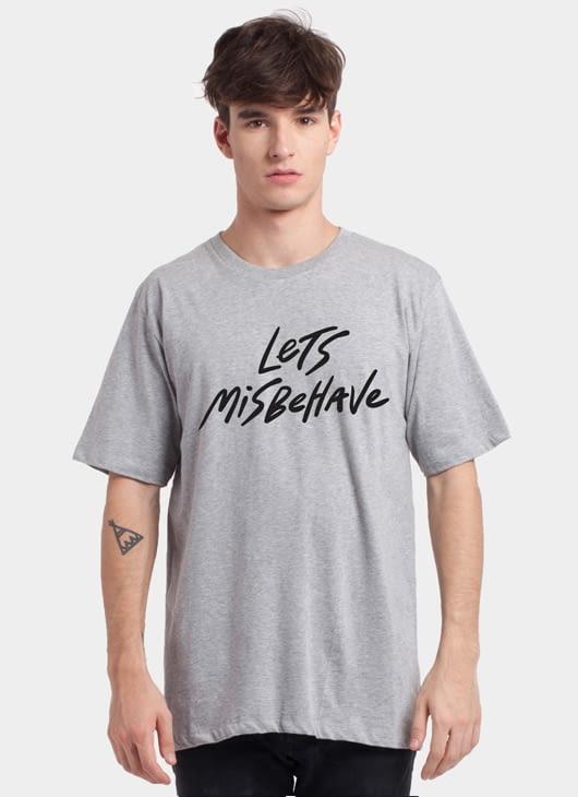 Monstore Misty Gray Lets Misbehave Basic Tee