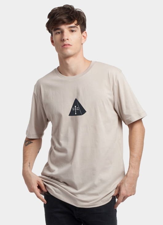Monstore Light Brown Cross Pyramid Tee