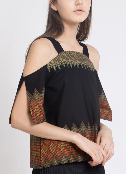 Warangka Batik Black Zeuss Shoulder Top