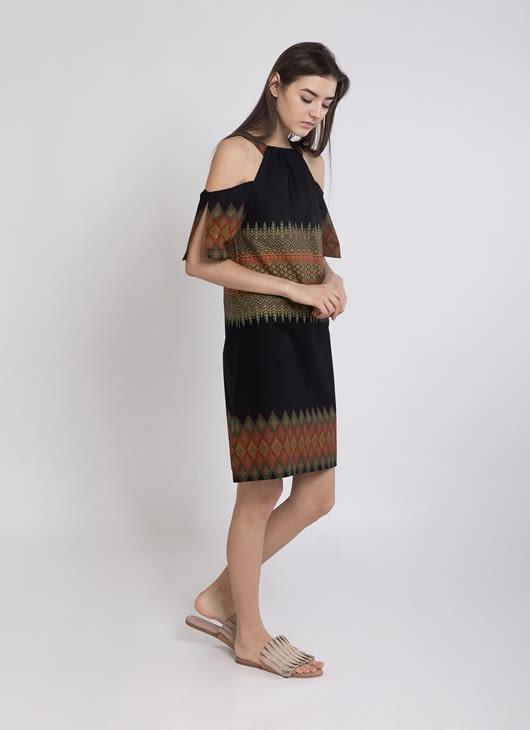 Warangka Batik Black Zoey Shoulder Dress