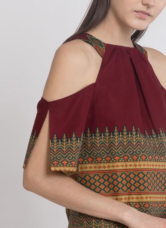 Warangka Batik Maroon Zoey Shoulder Dress