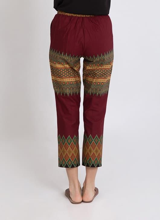 Warangka Batik Maroon Lynn Ankle Pants