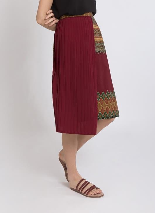 Warangka Batik Maroon Keera Pleated Skirt