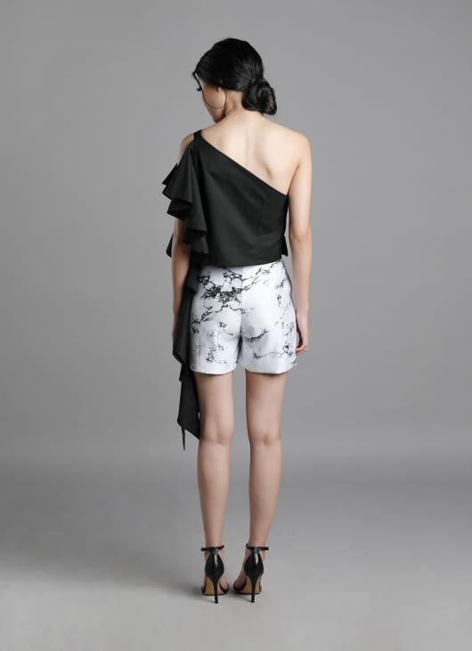 Auria Marble Print Carbon Shorts