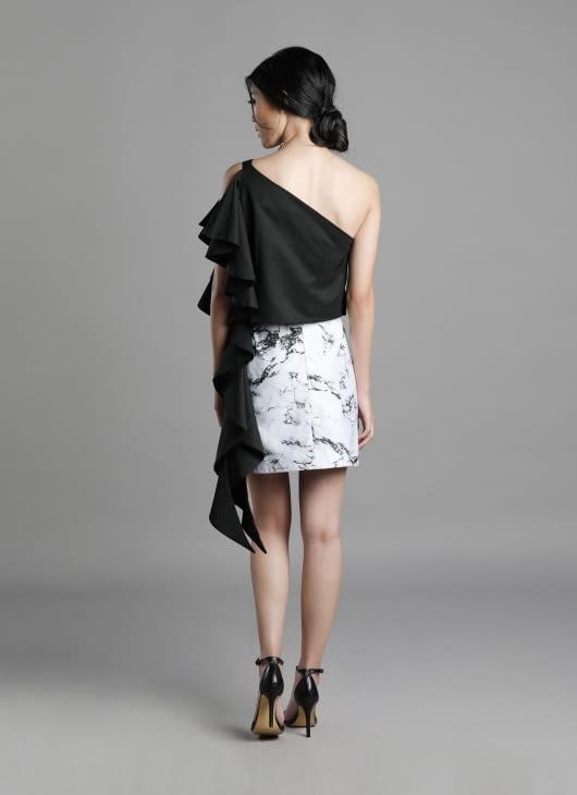 Auria Marble Print Zinc Skirt