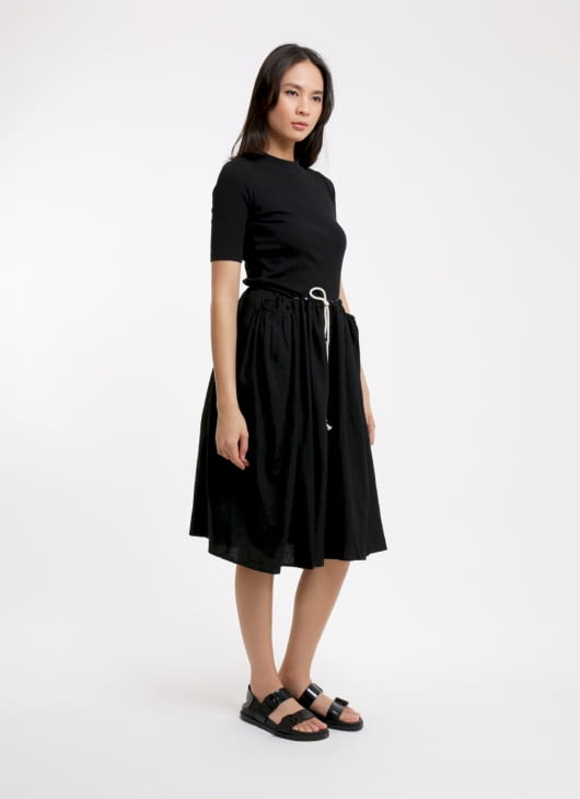 Seratus Kapas Black Side Smock Pocket Skirt