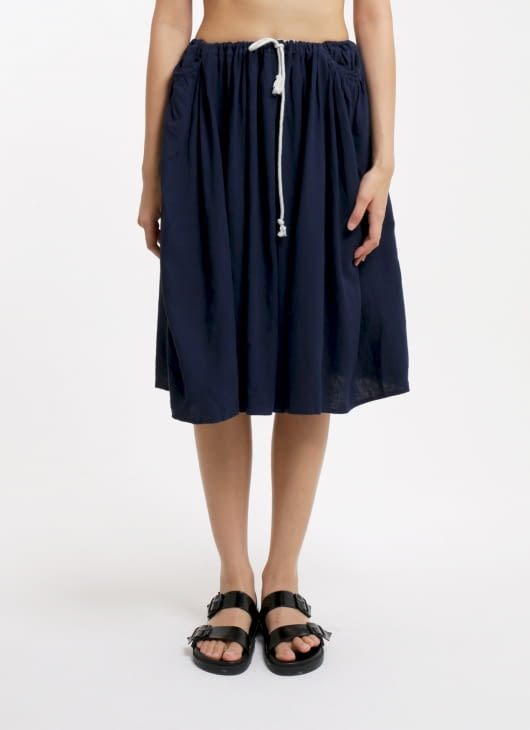 Seratus Kapas Indigo Side Smock Pocket Skirt