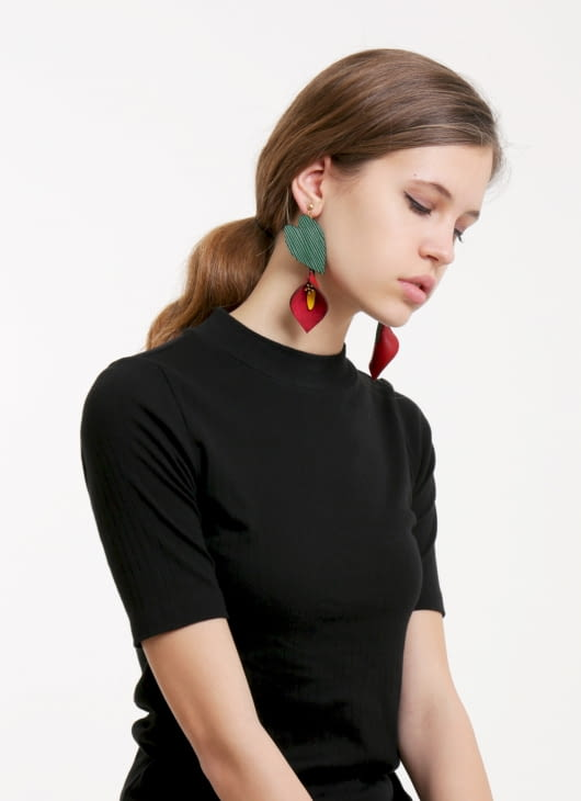 The Theme Red & Green Anthurium Earrings